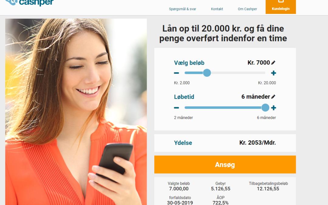 Cashper.dk – Lån op til 20.000DKK!